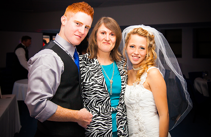 Groom with Mom and Bride