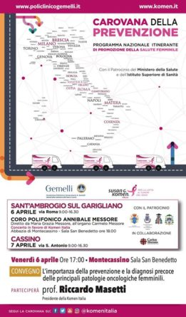 Locandina Convegno a Montecassino sulla prevenzione delle patologie femminili oncologiche