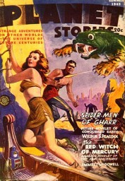 Lura and Trent being attacked by a brok. A good example of why Planet Stories' readers were griping about Parkhurst and his poor composition.