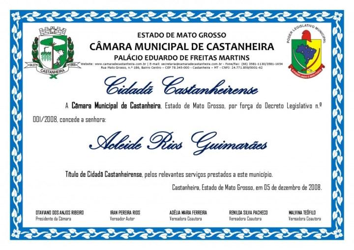 Título de Cidadão - ACLEIDE RIOS GUIMARÃES