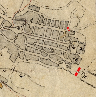 foto 2 In rosso la Porta della Catena, il Castello (n. 8) e la Porta san Paolo con la fontana e il viale degli oleandri (estratto da una mappa di metà Ottocento)