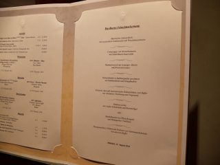 Hotel Bareiss Schwarzwald - menu demi pension