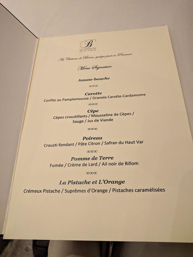 chateau de berne - restaurant de Benjamin - menu