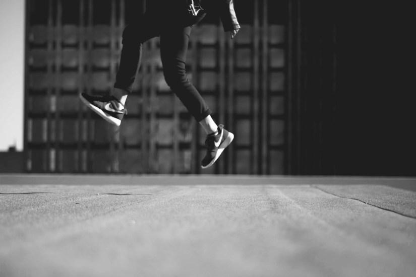 feet jumping in the air