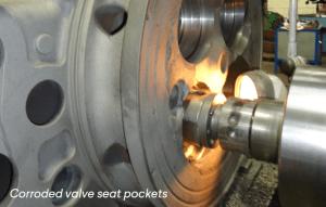 Corroded Valve Seat Pockets Mak Caterpillar Cylinder Heard Cast Iron Welding Repairs
