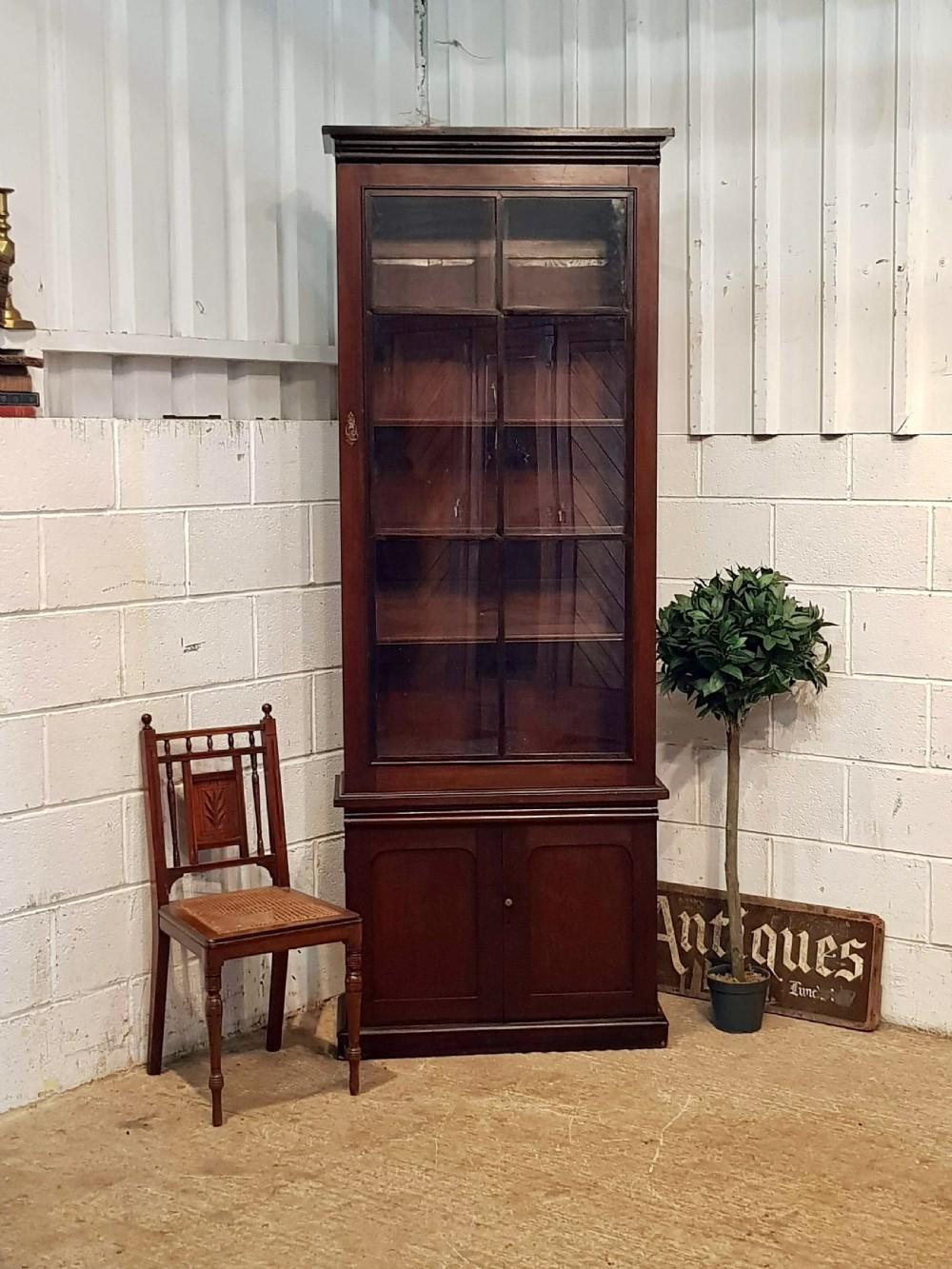 Antique Victorian Tall Narrow Mahogany Bookcase C1880