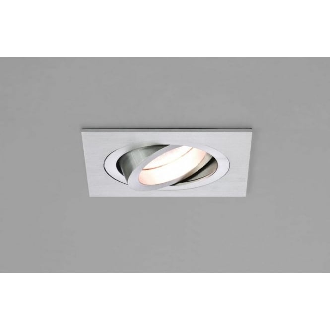 1240029 taro square single light fire rated adjustable recessed ceiling fitting in brushed aluminium finish