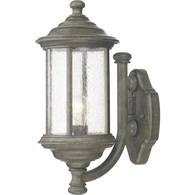 bro1661 brompton single light outdoor wall fixture in old iron with seeded glass