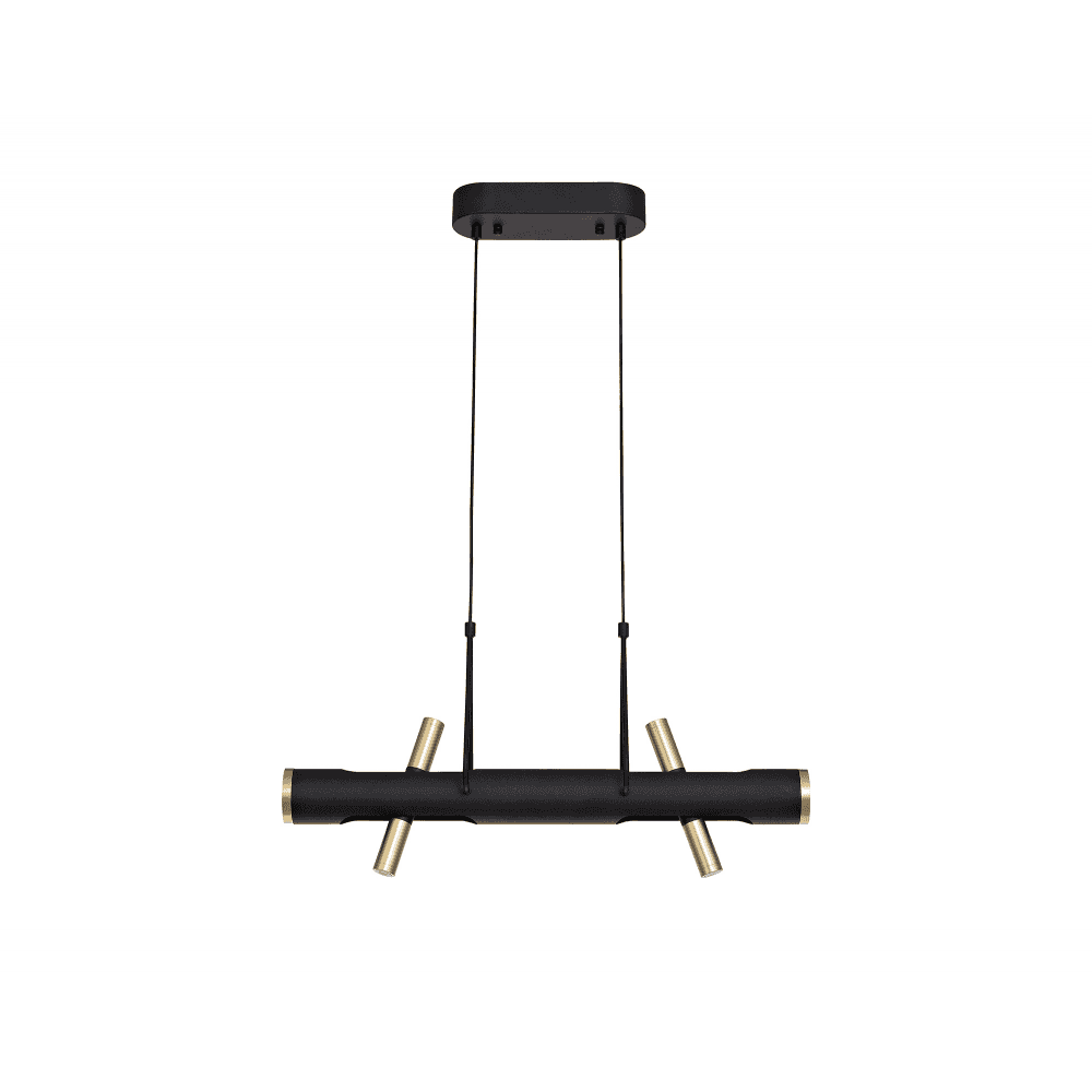 discovery lighting baltimore led linear ceiling pendant with black and gold finish