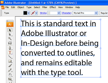 Converting text to outlines - example 1
