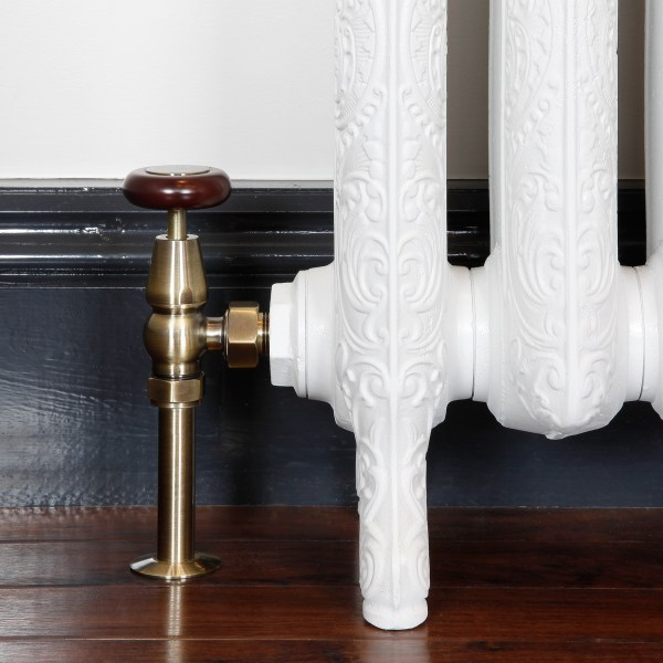 Windsor antique brass manual radiator valves with matching shrouds