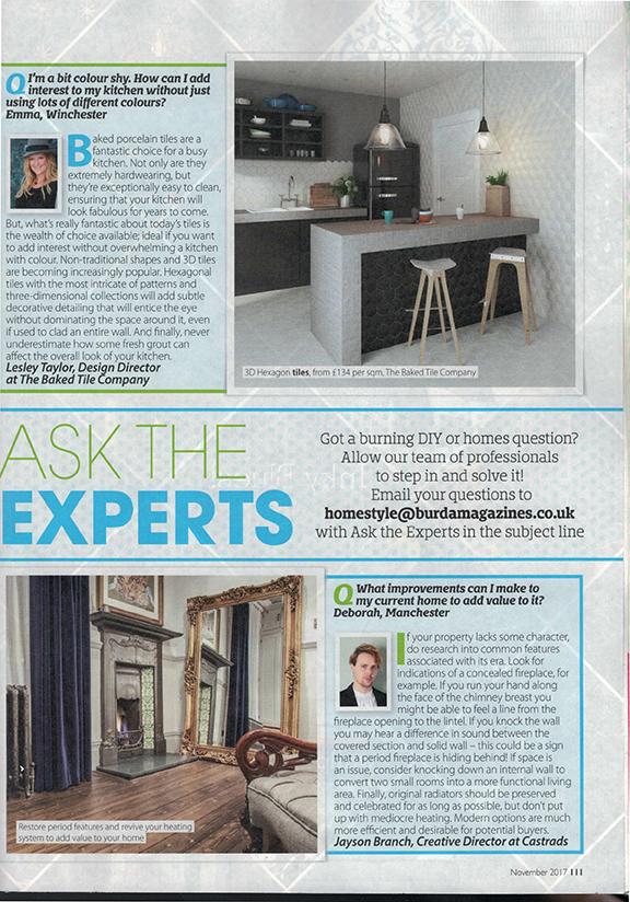 Home Style Magazine, November 2017. Article on how to add value to property. Gold decorative mirror and polished ornate cast iron radiator.