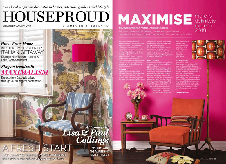 House Proud Magazine, January 2019. Maximalism article. Hot pink painted wall and mid century furniture.