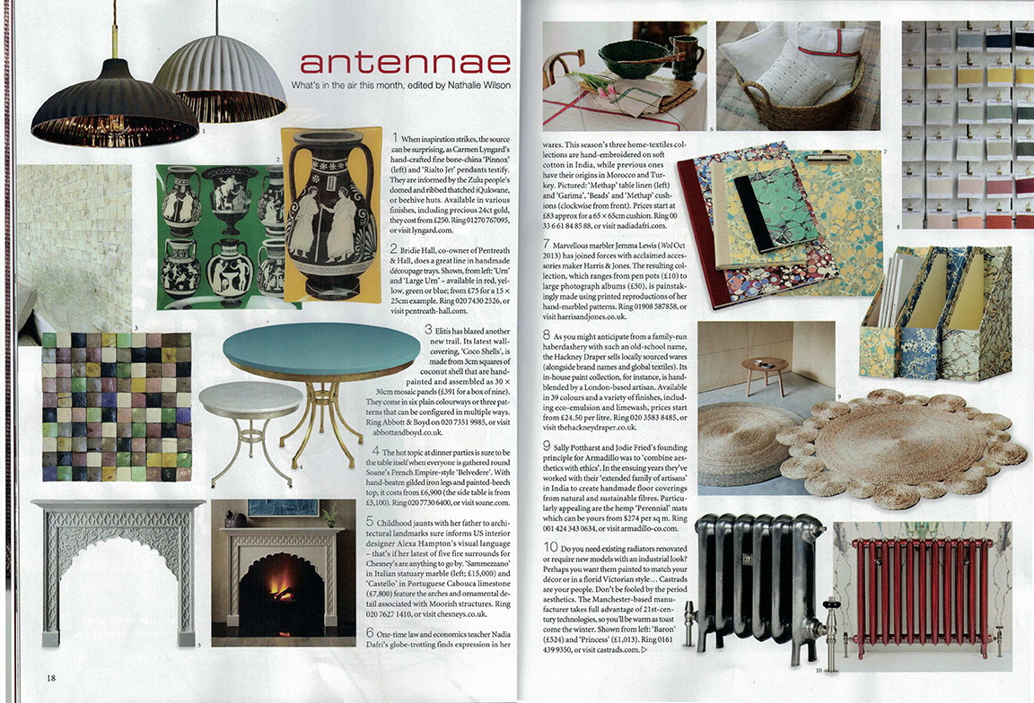 The World of Interiors Magazine, August 2017. Antannae section with editors monthly picks of design products. Cast iron radiators.