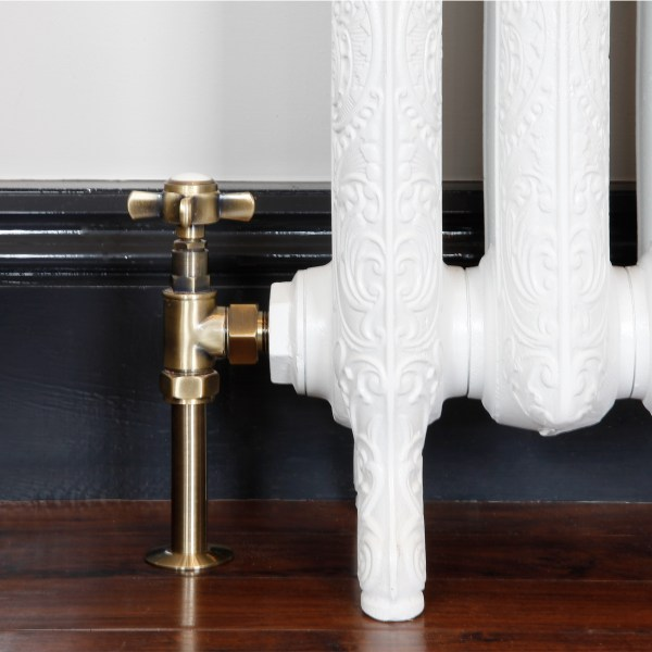 Crosshead antique brass manual radiator valves with shrouds