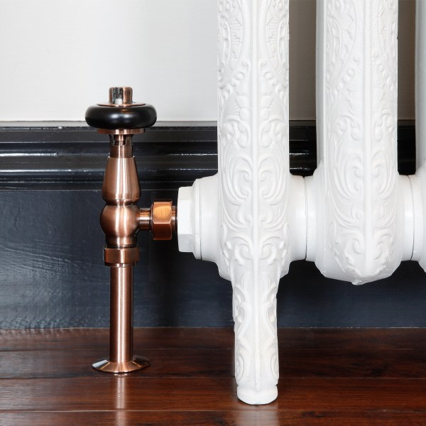 Windsor Antique Copper thermostatic radiator valve with matching shrouds