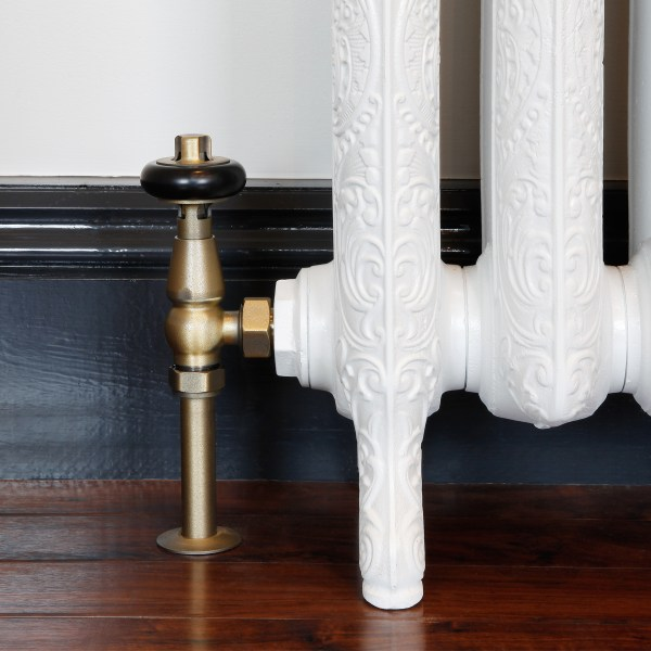 Windsor Natural Brass thermostatic radiator valve with matching shrouds