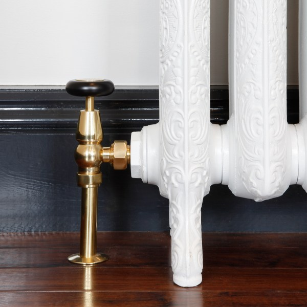 Windsor Polished Brass Manual radiator valve with matching shrouds