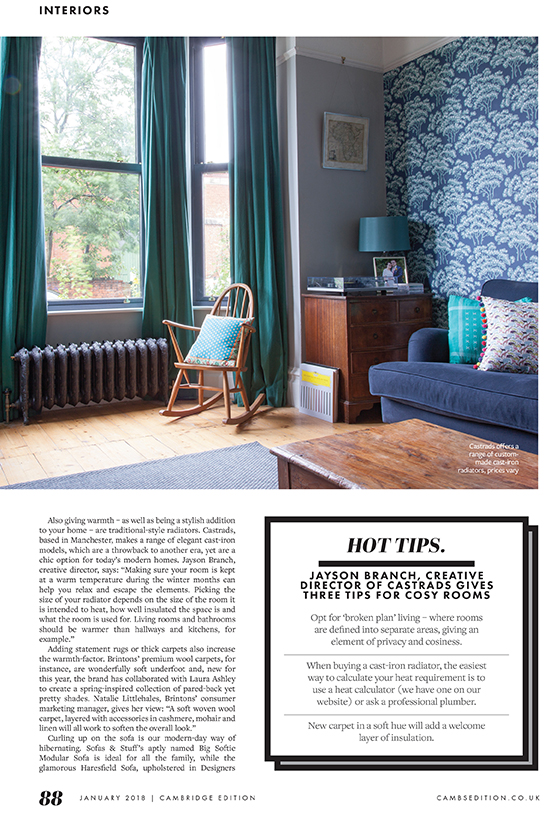 Cambridge Edition Magazine, January 2018. Tips to create a cosy room. Image of bay window with low ornate cast iron radiator and floral cows parsley blue and white wall paper.