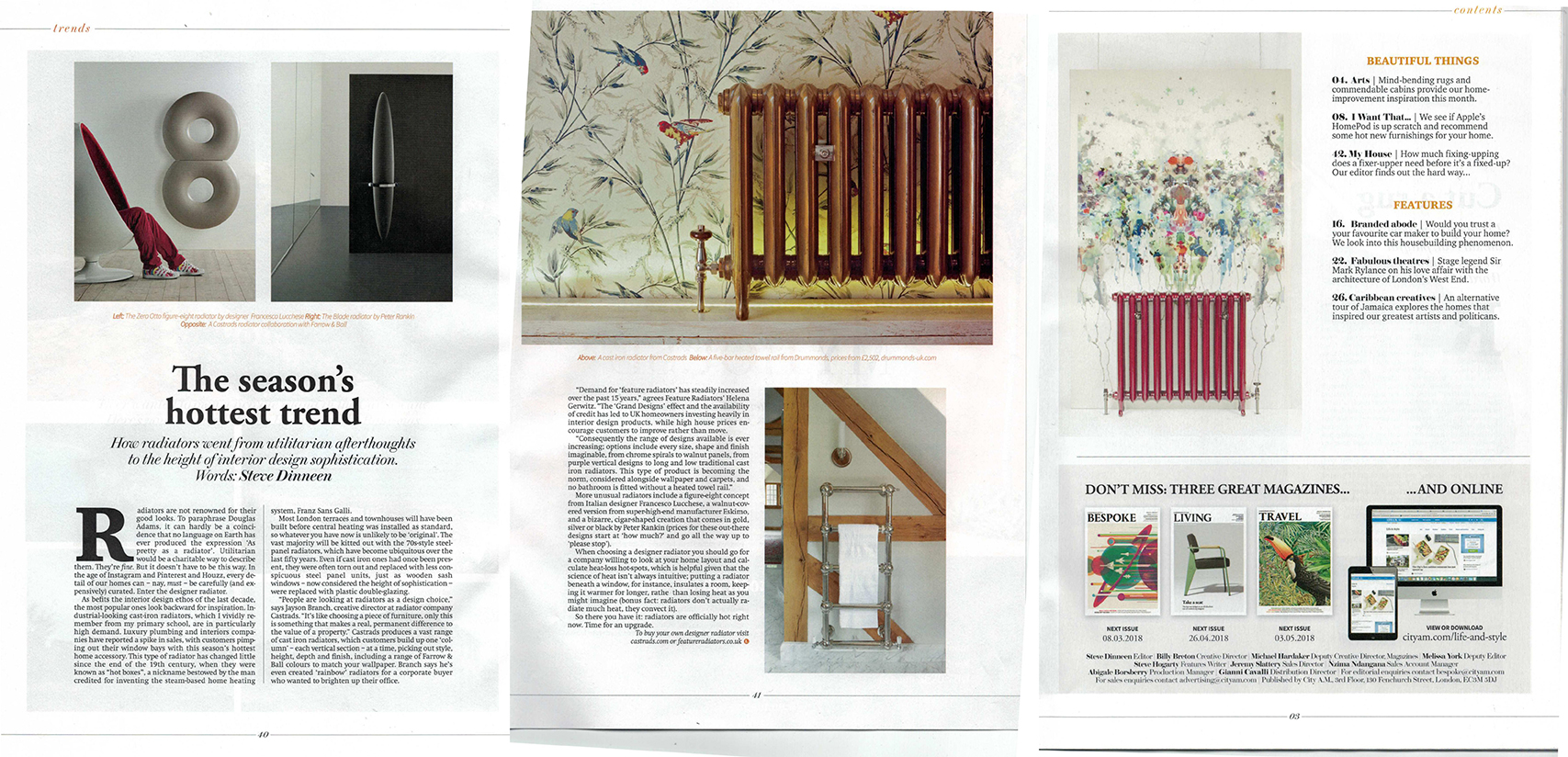 City AM Living, February 2018. Article about radiators being the height of interior design sophistication. Gold finished cast iron radiator with bird wallpaper.