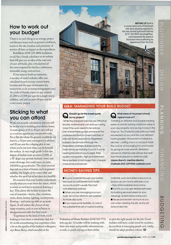 Grand Designs Magazine, April 2018. Article on how to budget for a self build project.