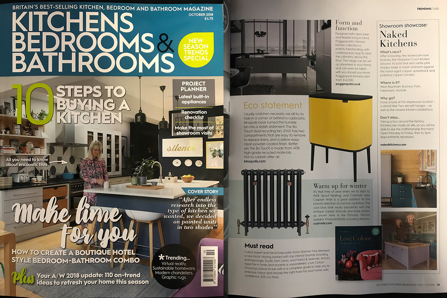 Kitchens, Bedrooms & Bathrooms Magazine, October 2018.