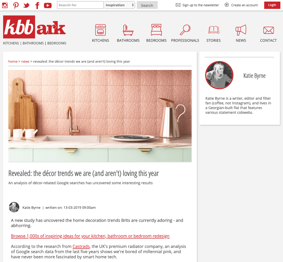 KBBArk Kitchens Bathroom Bedrooms, March 2019. Article about revealing the décor trends we are (and aren't) loving this year.