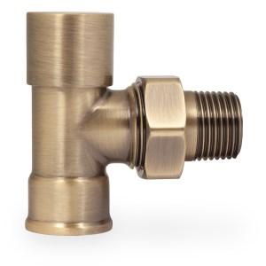 Half inch NPT FIP hydronic lockshield valve in antique brass finish