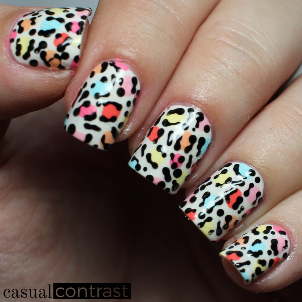 Leopard Nail Art featuring OPI Retro Summer • Casual Contrast