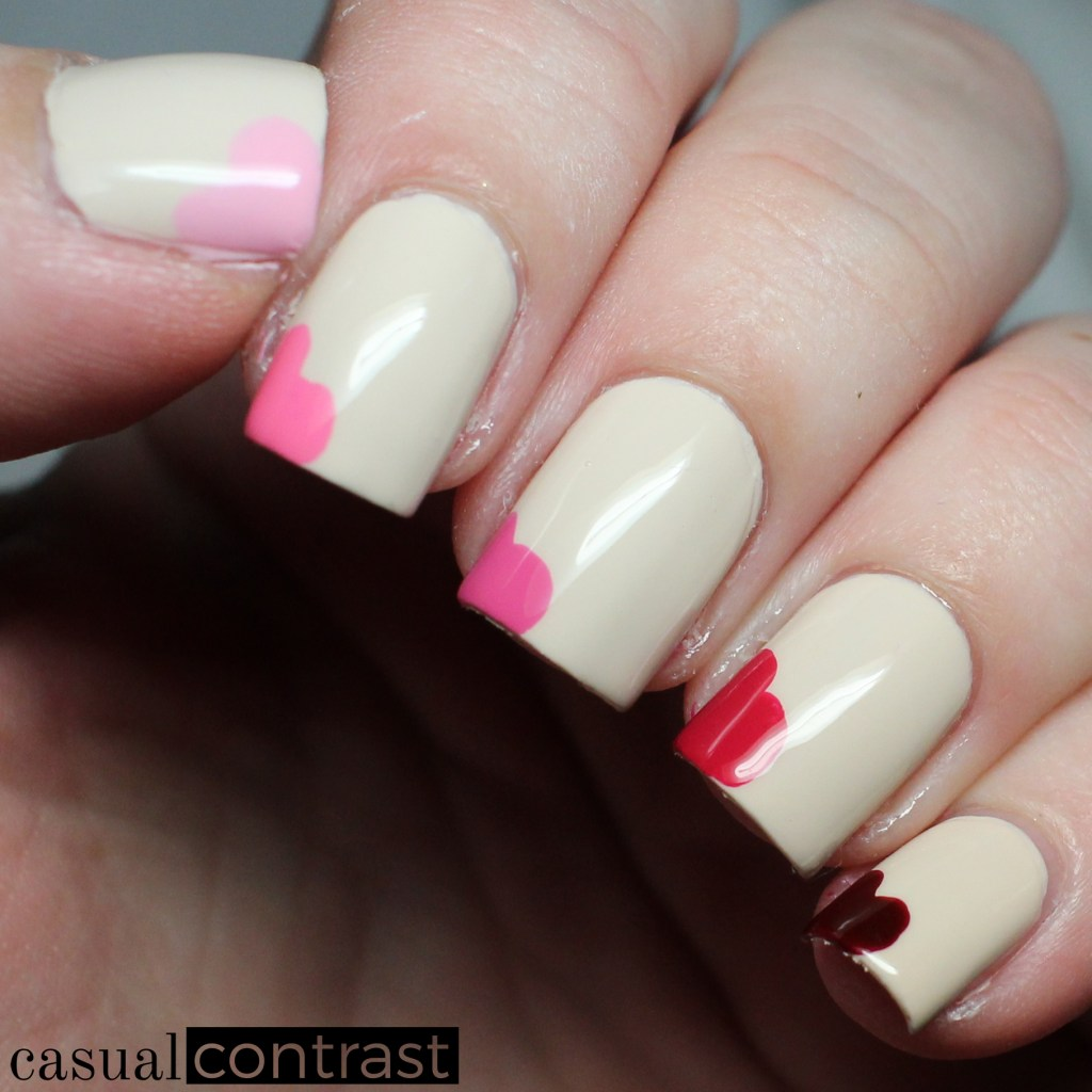 The Perfect Valentine\'s Day Manicure for Square Nails • Casual Contrast