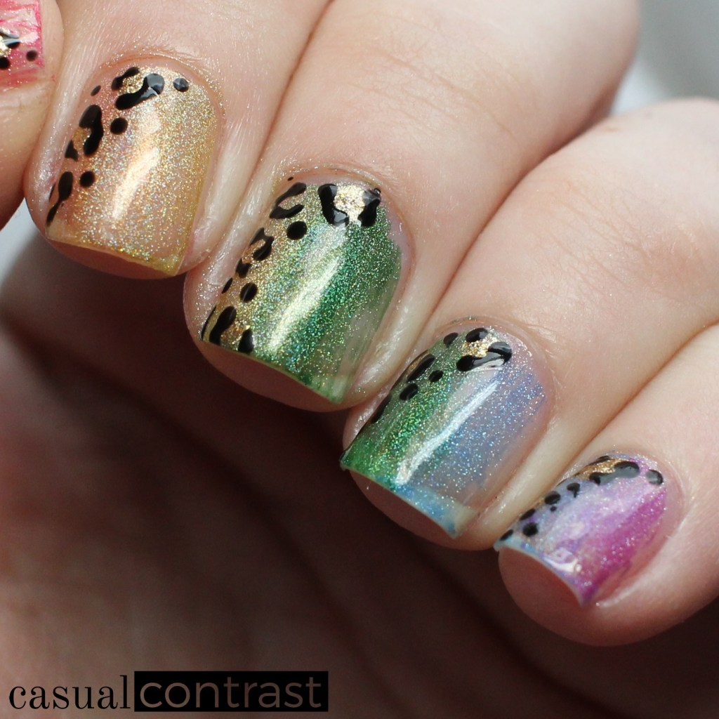 Rainbow Holographic Dry Brush Nail Art Manicure for St. Patrick's Day! • Casual Contrast