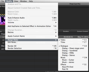 Assigning roles in FCP-X