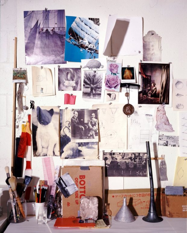 Rauschenberg's 'muse wall', a collection of objects and images that inspired him, in his print shop, Captiva, Florida, around 1979. Photograph: Emil Fray/Robert Rauschenberg Foundation