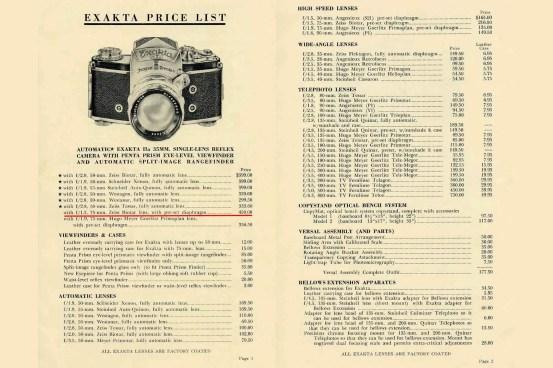 1958-Exakta-Price-List-1