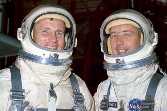 Image Credit NASA S65-19528 (1 June 1965): Astronauts Edward H. White II (left), Gemini-Titan IV pilot; and James A. McDivitt, command pilot.