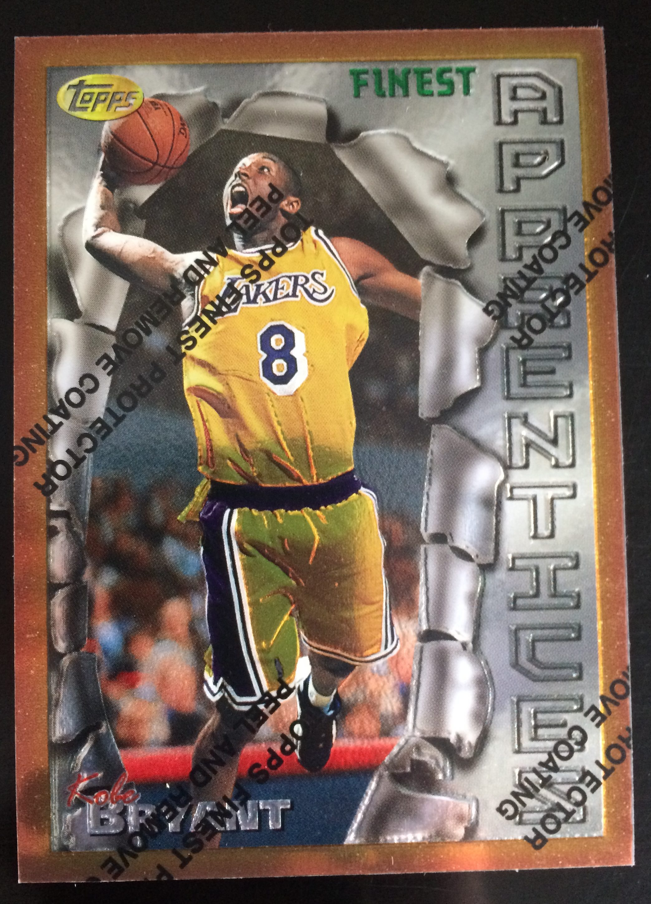 1996 97 Topps Finest 74 Kobe Bryant Rookie Card Apprentices A10