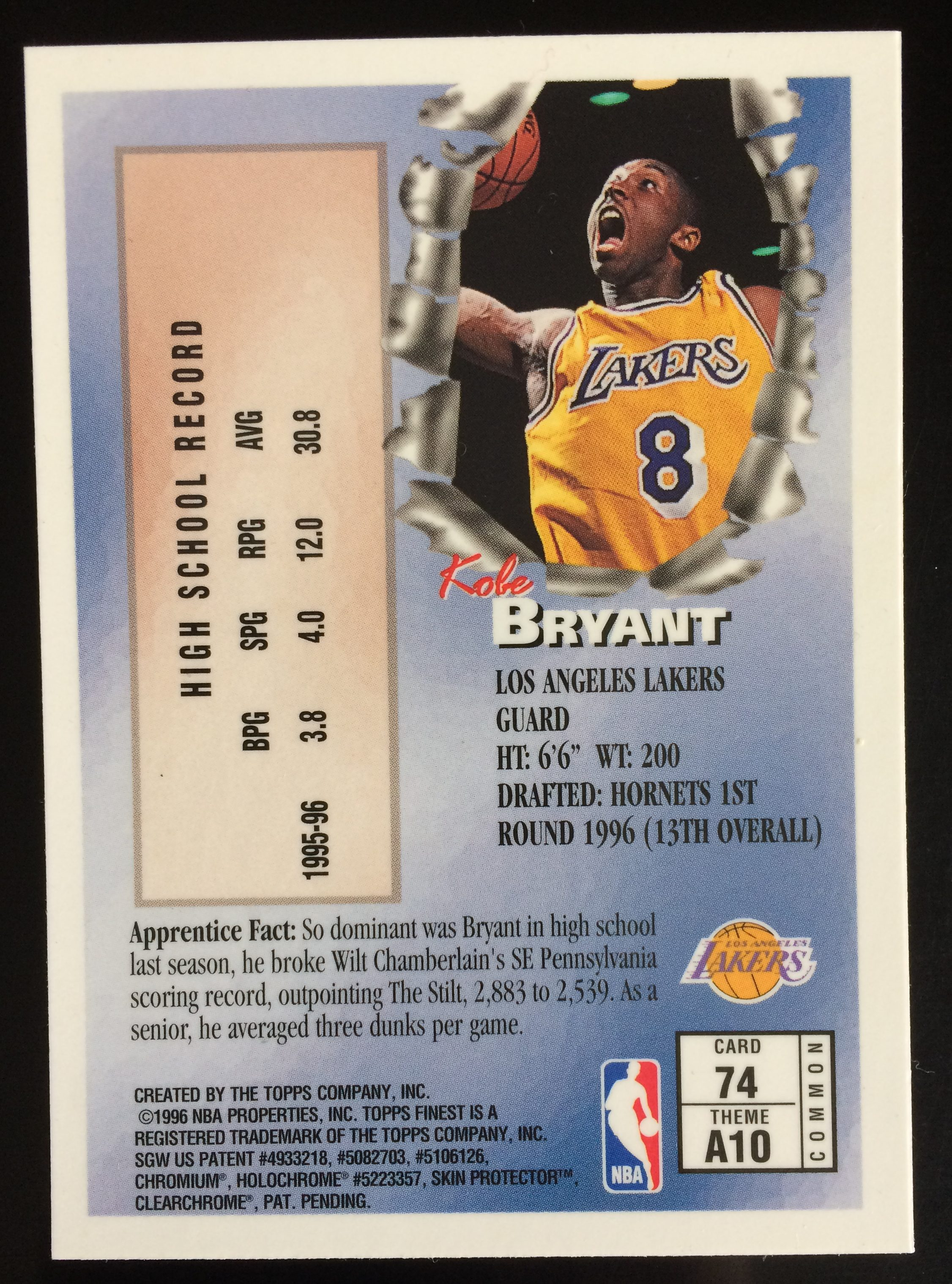 1996 97 Topps Finest 74 Kobe Bryant Rookie Card