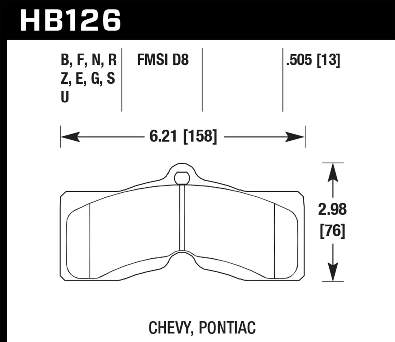 Hawk Performance Hb126b 505 Hps 5 0 Disc Brake Pad Fits 66