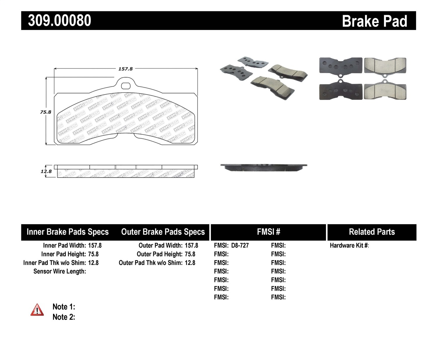 Stoptech 309 Stoptech Sport Brake Pads Fits 63 82