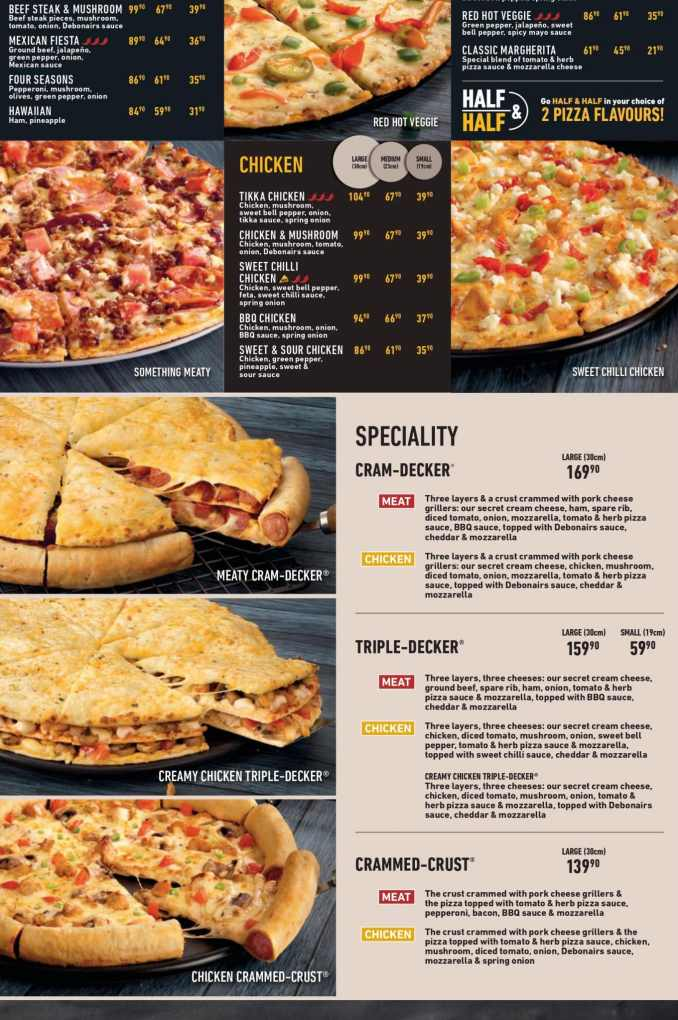 Debonairs Pizza Menu Prices & Specials