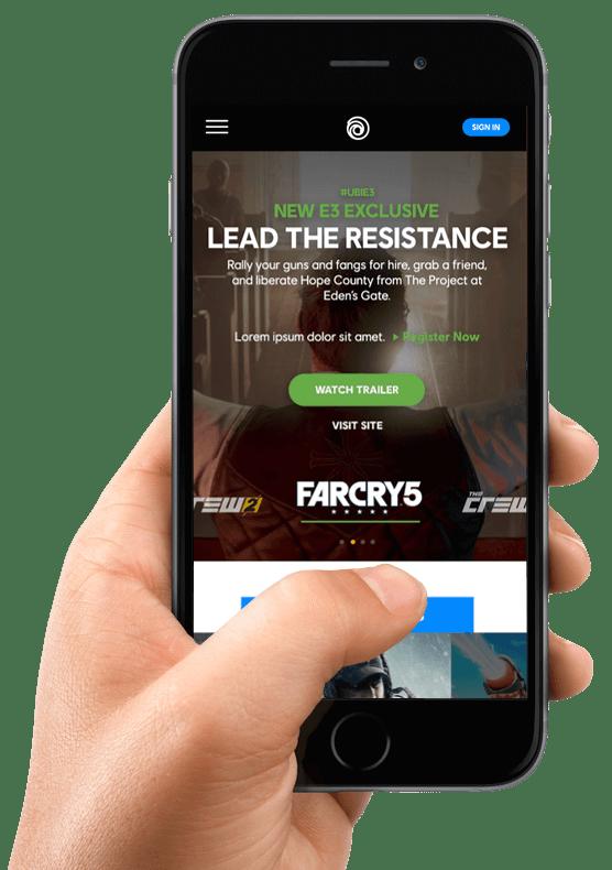 Ubisoft site on a smartphone