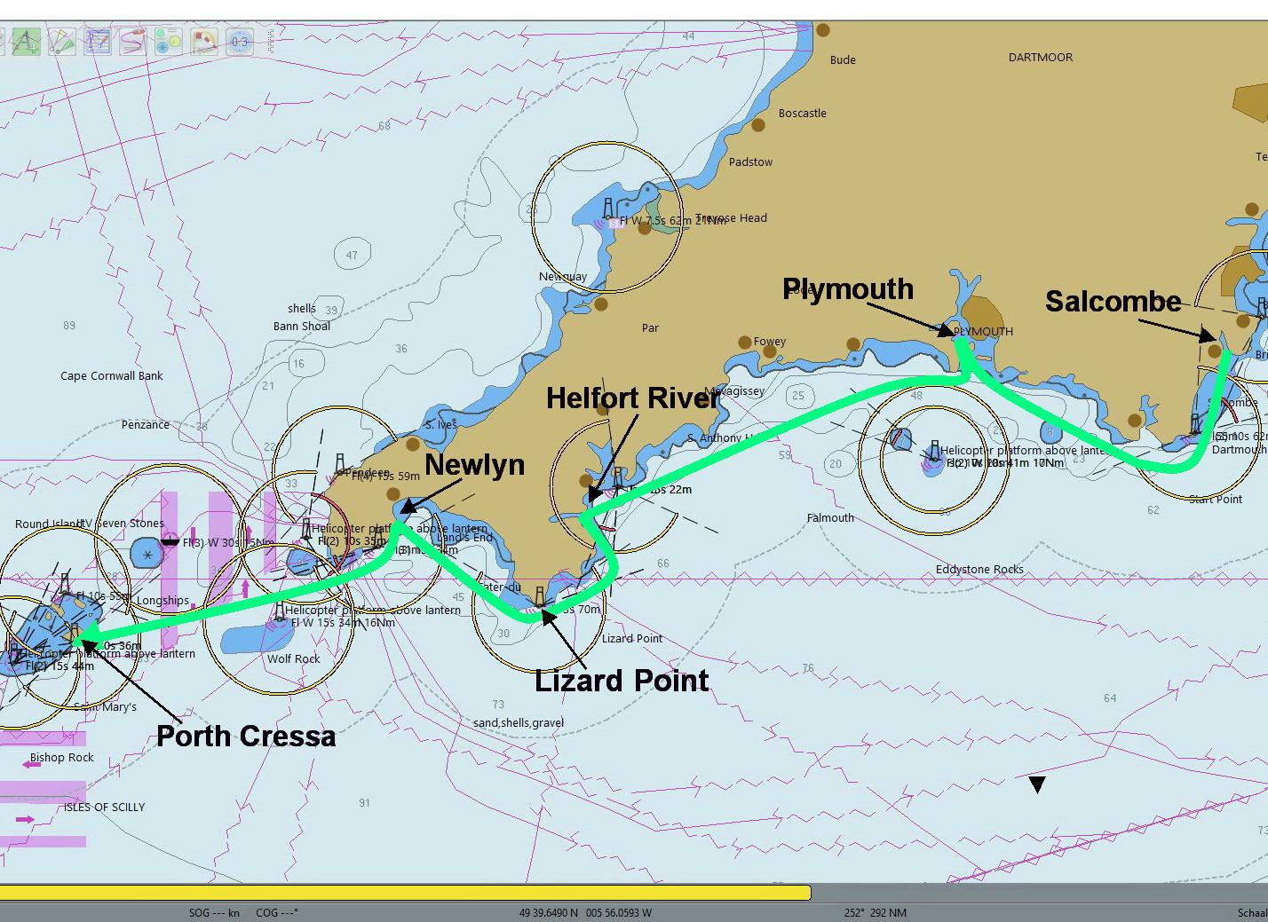 Salcombe naar Scillies - Route