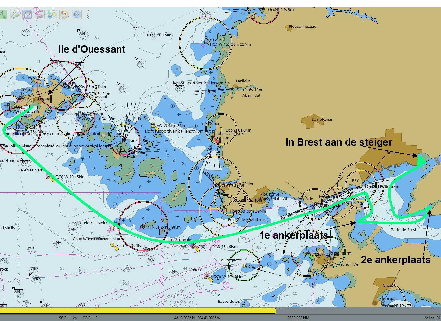 Route 'Ile de Ouessant' naar 'Rade de Brest'