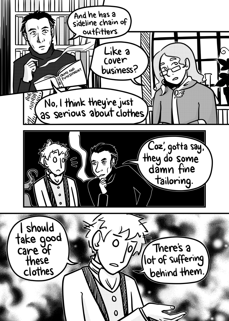 Dan is looking at Kieran's clothes, whatever that third panel may look like out of context.