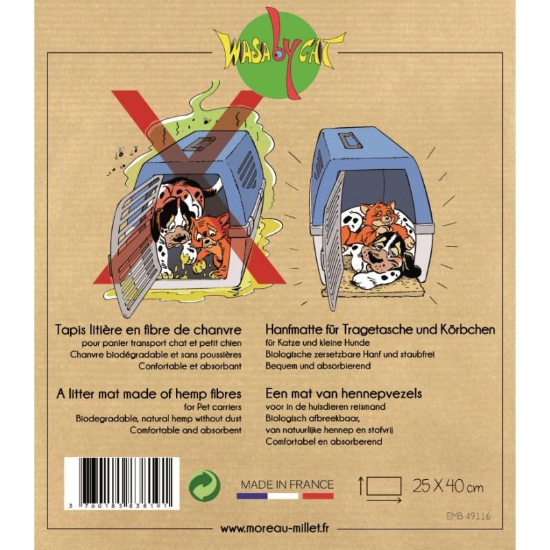 tapis litiere de transport pour chat en fibres naturelles wasabycat
