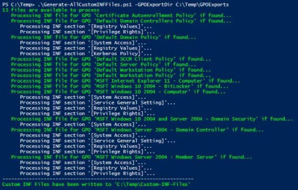 Generate-AllCustomINFFiles.ps1 script output screen