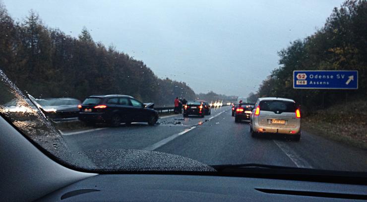Uheld på den fynske motorvej ved Odense