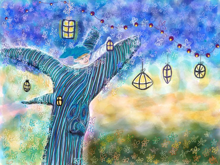 Fantasiskoven med Lygtemanden i hans træ