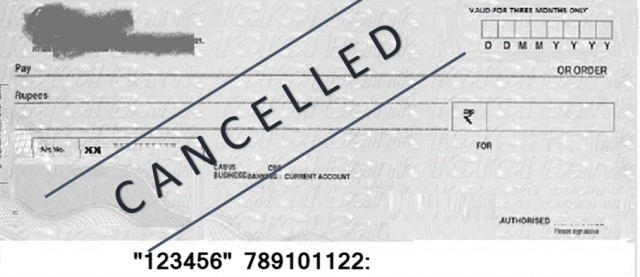 CANCEL CHEQUE IN HINDI