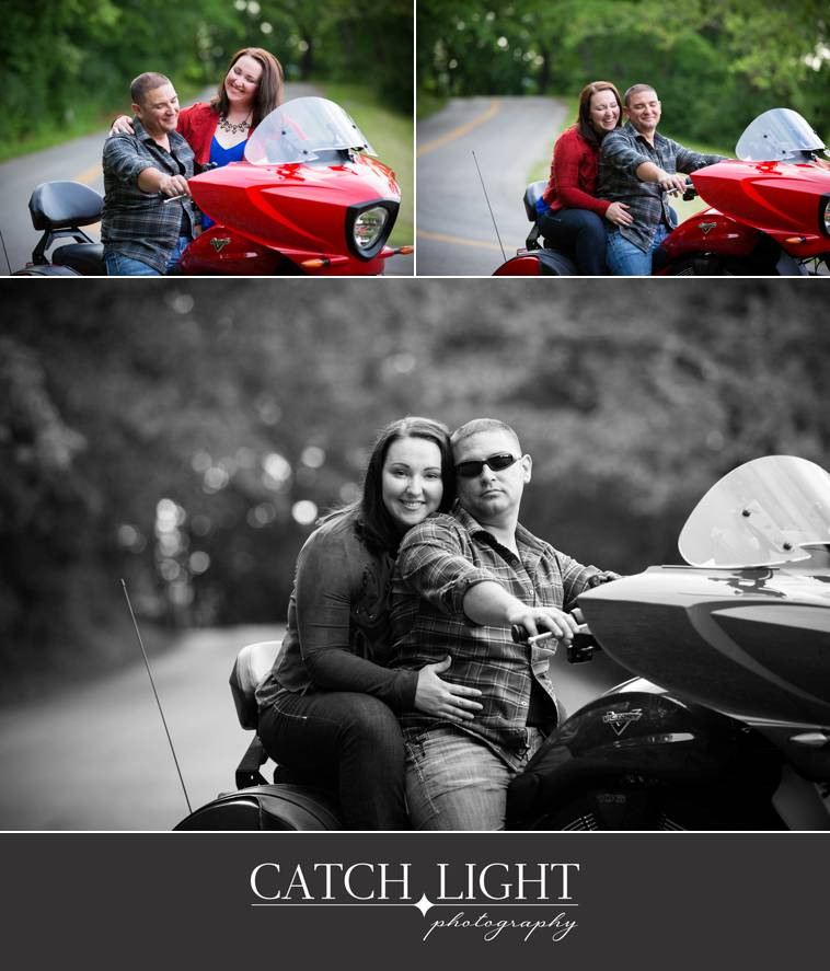 Kansas City engagement photos with a motorcyle